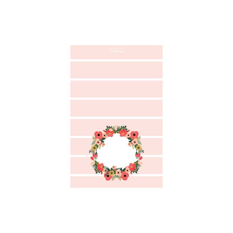 Light Coral Stripe Floral Folded Note
