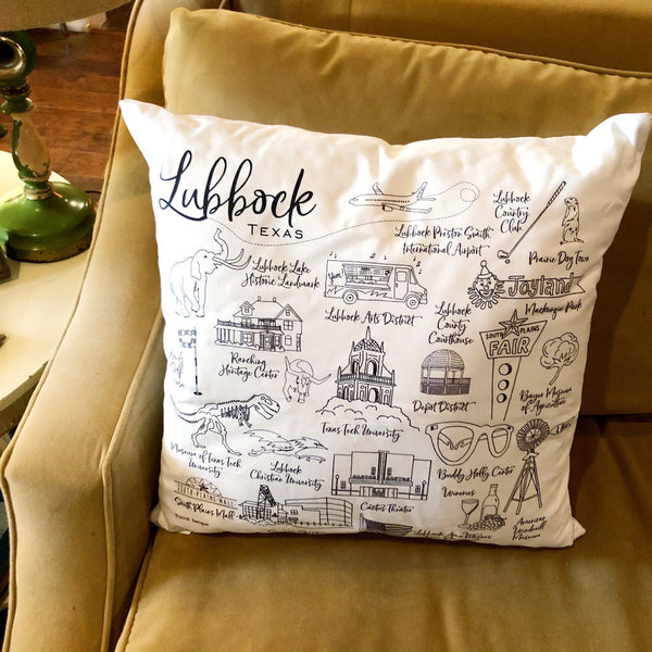 lubbock map pillow on barquegifts.com