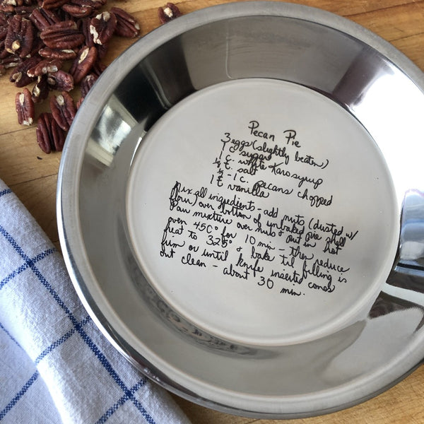 engraved recipe stainless steel pie pan