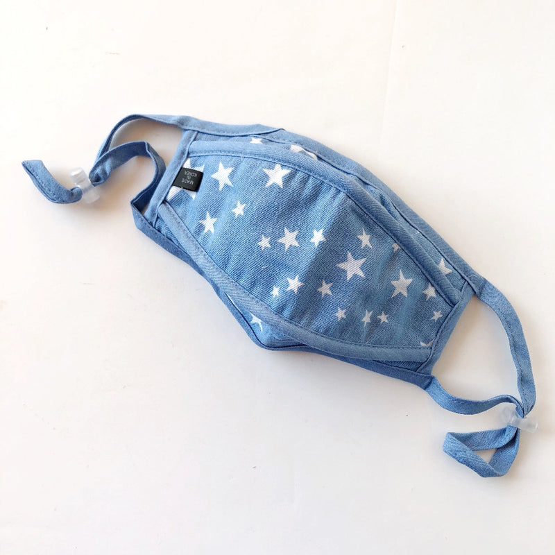 light denim face mask with stars on barquegifts.com