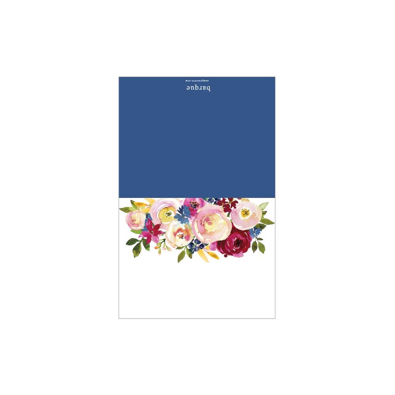 Burgundy/Navy Floral Folded Note