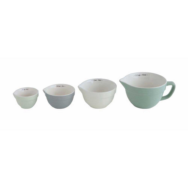 Stoneware Batter Bowl Shaped Measuring Cup Set