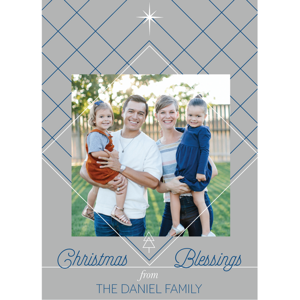 Modern Christmas Blessings Holiday Photo Card