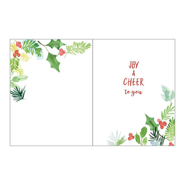 Pine & Holly Sprigs Boxed Christmas Cards  (box of 10)