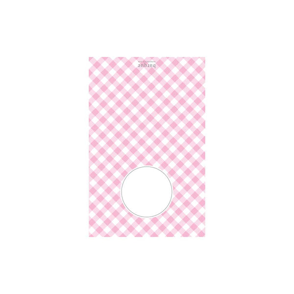 Pink Gingham Folded Note