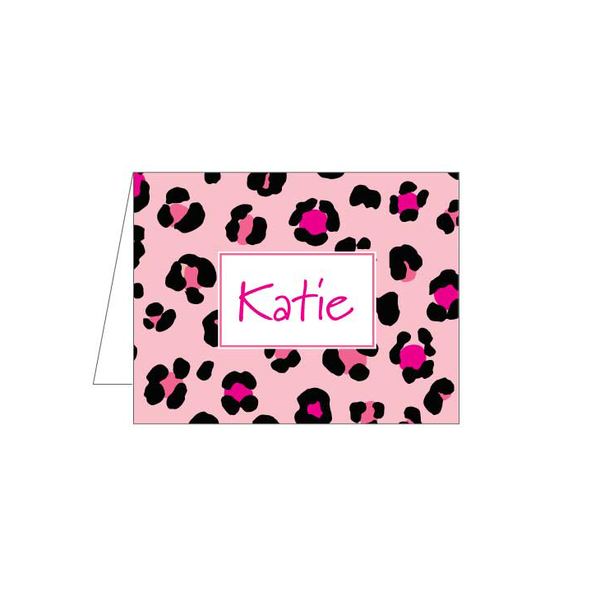 Pink Leopard Folded Note