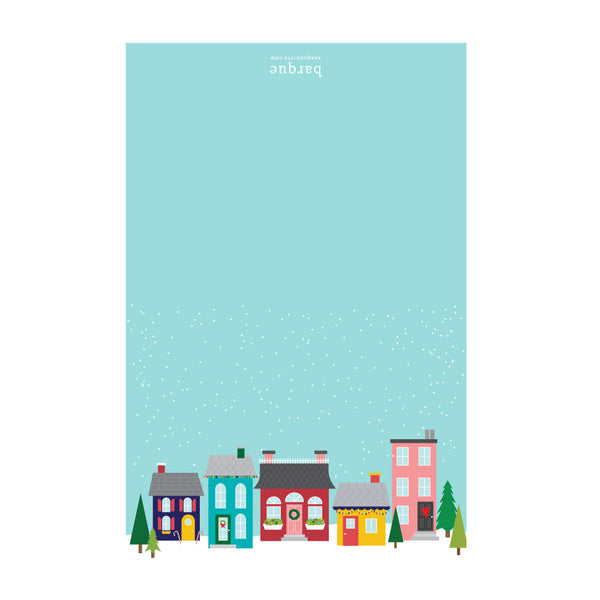 snowy town holiday cards on barquegifts.com