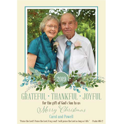 2019 Watercolor Sprigs Holiday Photo Card