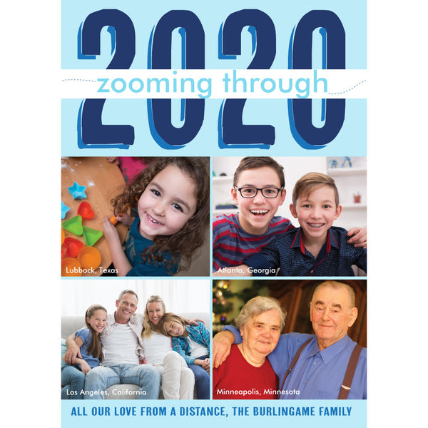 zooming through 2020 holiday photo card on barquegifts.com