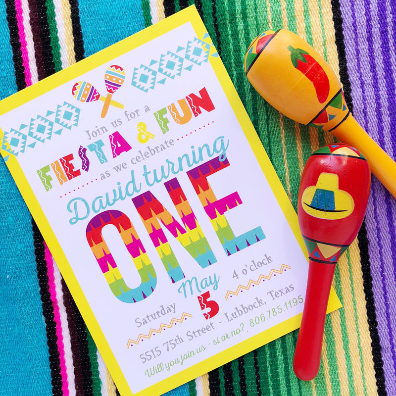 Fiesta First Birthday Invitations by barquegifts.com