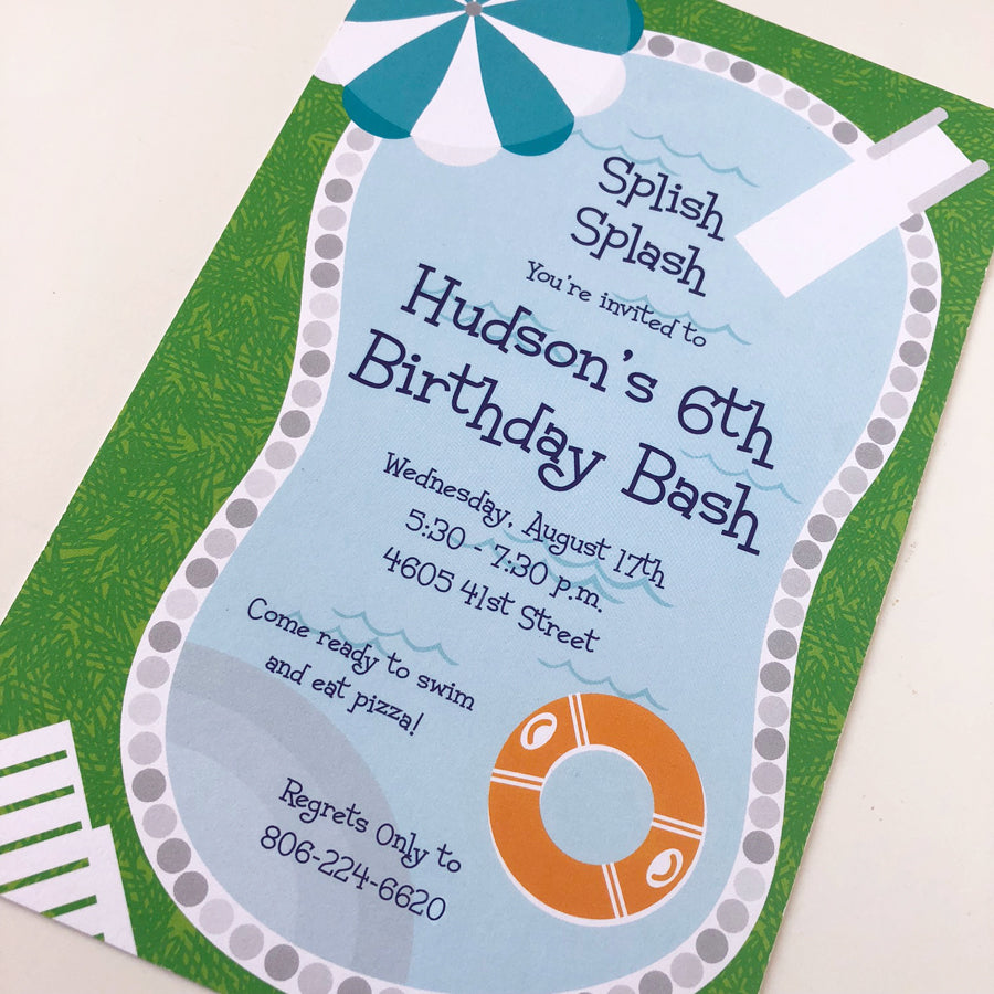 Custom Pool Party Invitations by barquegifts.com