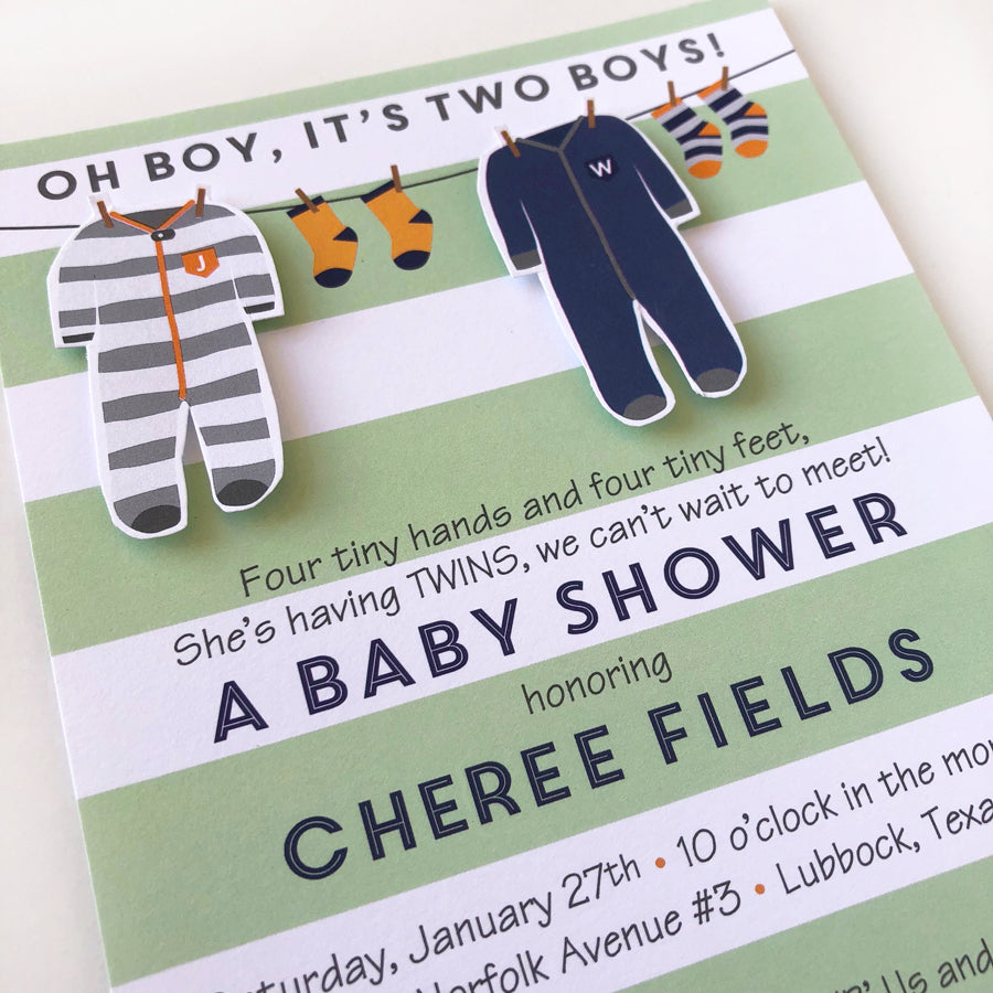 Twin Boy Clothesline Custom Invitations on barquegifts.com