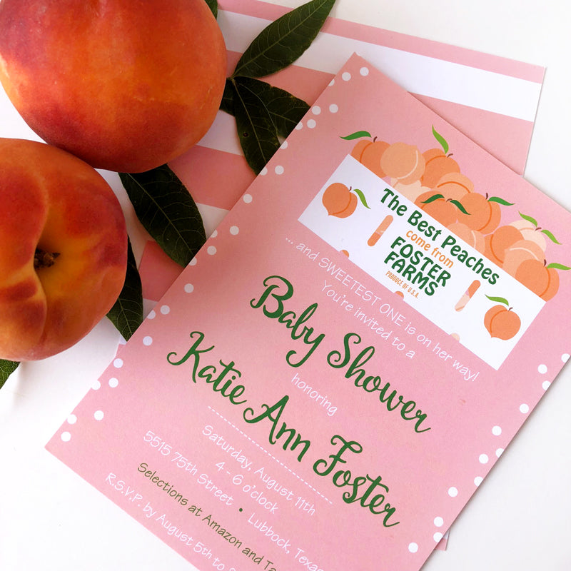 Peach Baby Shower Custom Invitations by barquegifts.com