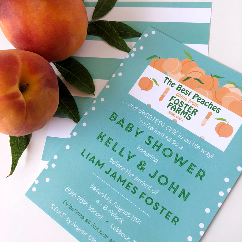 Peach Baby Shower Invitation by barquegifts.com