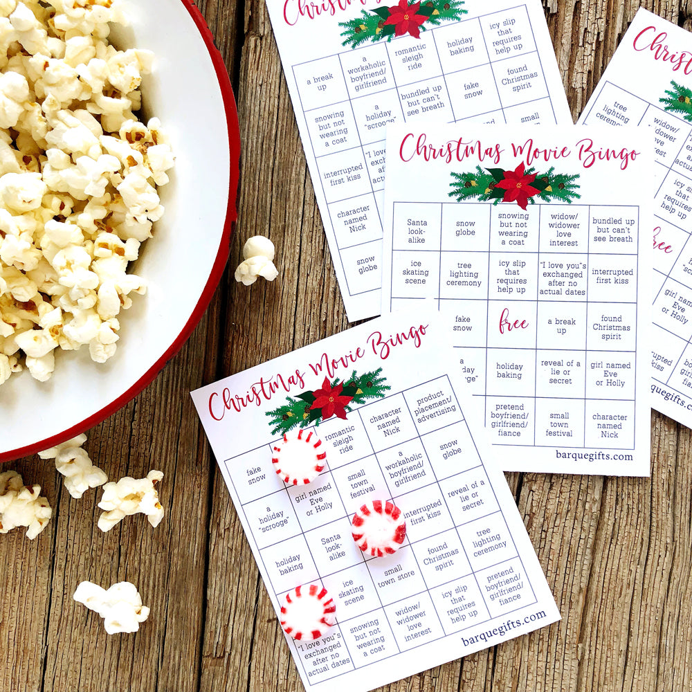 Christmas Movie Bingo on barquegifts.com