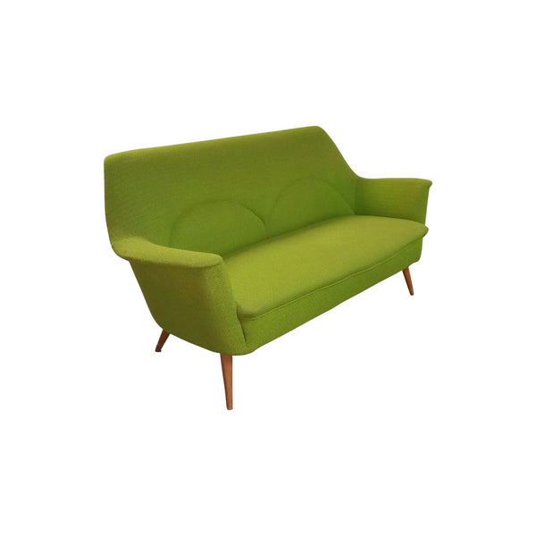 Cocktail Sofa in Teak and Green Fabric