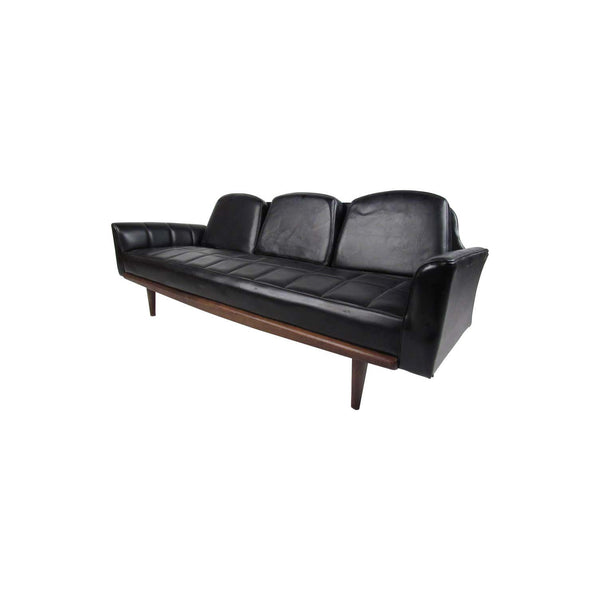 Midcentury Grid Tufted Vinyl Sofa