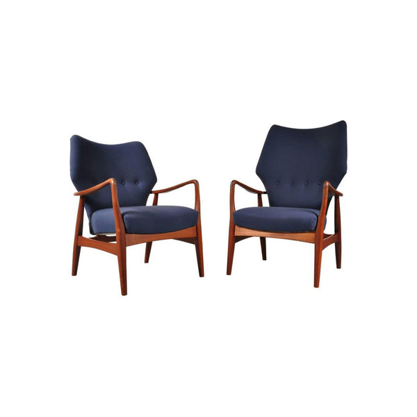 Pair Of Vintage Armchairs For Bovenkamp In Blue Fabric And Oakwood 1950