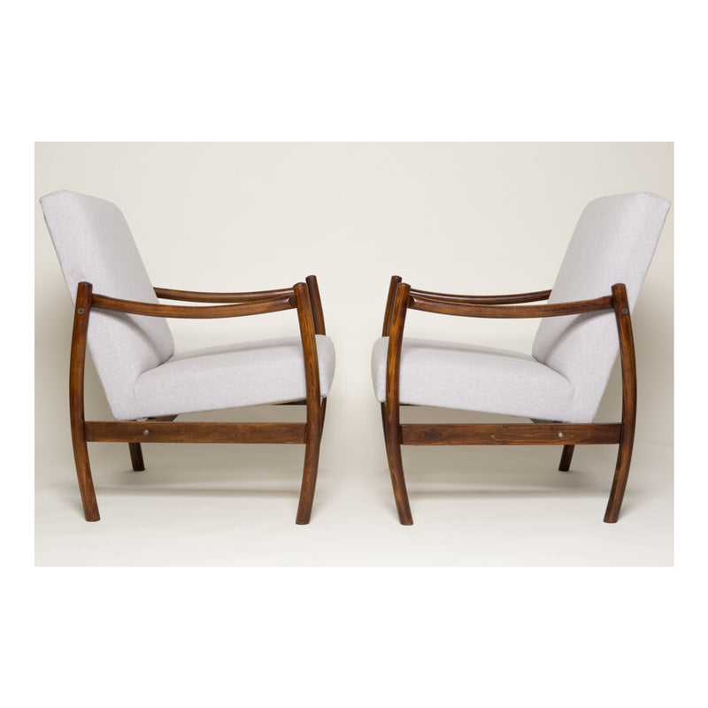 "Set of 2 Beige ""Club"" Armchairs by Radom Furniture Factories - 1960s"