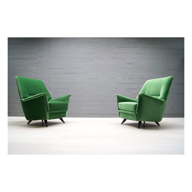 Set of 2 Vintage Italian Green Armchairs