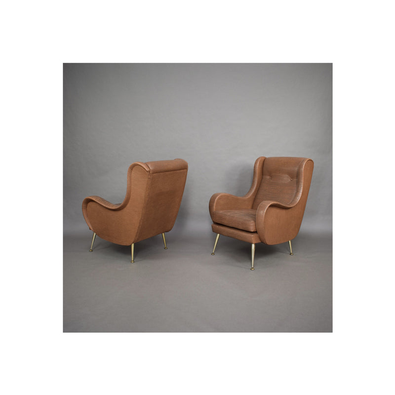 Set of 2 Vintage Lounge Chairs by Aldo Morbelli - 1950s
