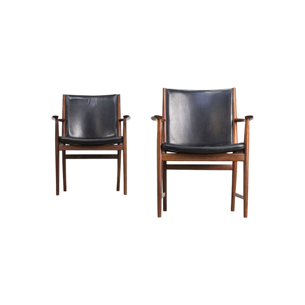 Set of 2 Vintage Armchairs for Vejen in Black Leather and Rosewood