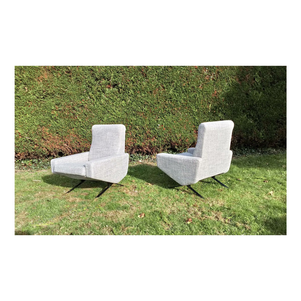 "Set of 2 Vintage ""Troika"" Armchairs by P. Geoffroy 1950"