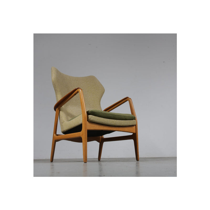 Vintage Armchair for Bovenkamp in Green Fabric Oak and Teak 1950s