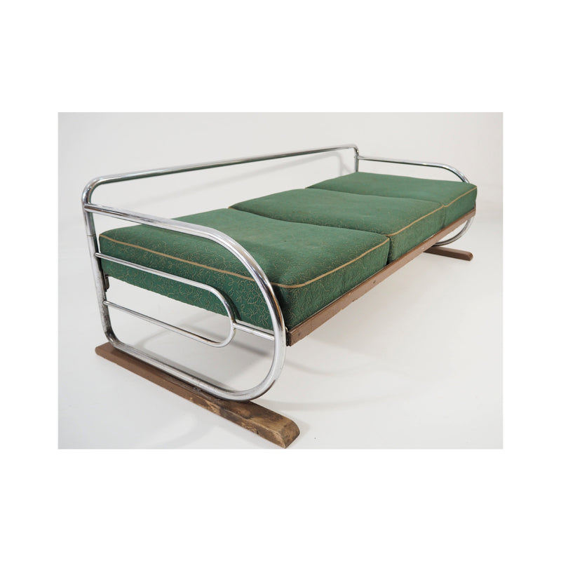 Vintage Chrome Sofa by Robert Slezak Art Deco 1930s