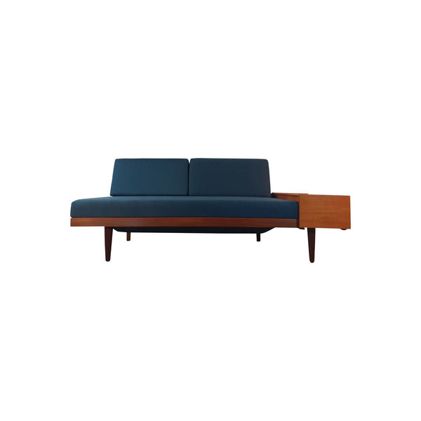 Vintage Ingmar Relling Daybed In Teak And Blue Cloth, Norwegian 1960