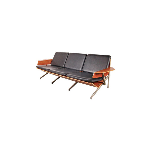 Vintage Fm50 Sofa For Pastoe In Black Leather And Plywood 1960