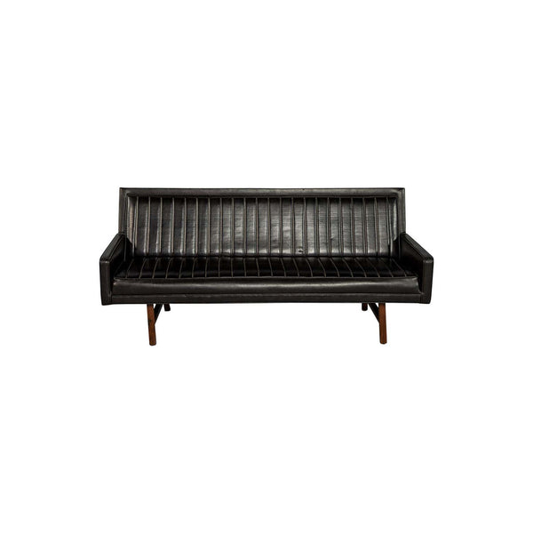 Vintage Ribbed Vinyl and Walnut Frame Sofa