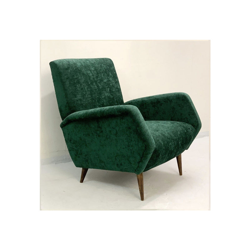 Vintage Green Velvet Armchairs Gio Ponti Model 803 For Cassina, Italy, 1954