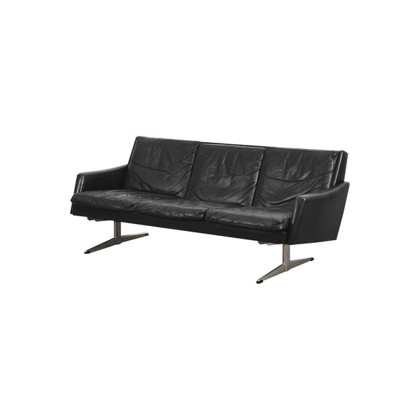 Vintage Modern Black Leather Scandinavian Sofa, 1960