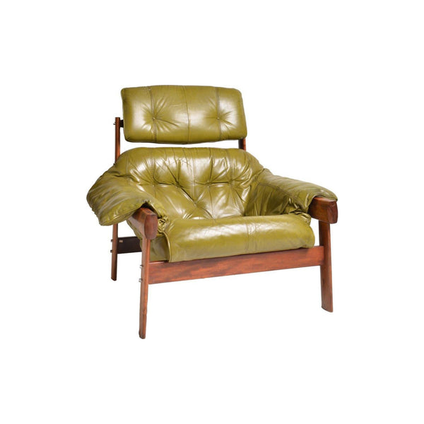 Vintage Mp041 Armchair for Lafer in Green Leather and Mahogany