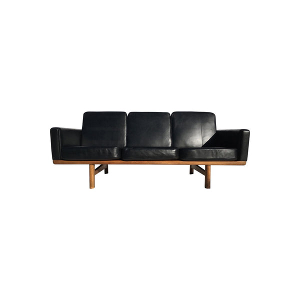 Vintage Scandinavian Black Leather Sofa H.j.wegner Getama