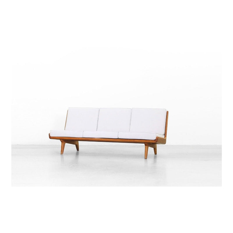 Vintage Scandinavian Sofa in Oakwood and White Fabric 1950