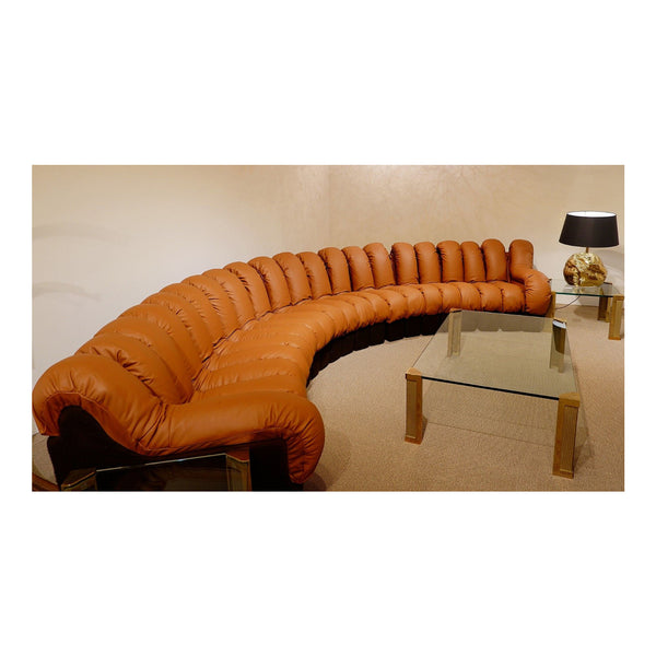 "Vintage De Sede ""Non Stop"" DS600 Cognac Leather Sofa, 1970"