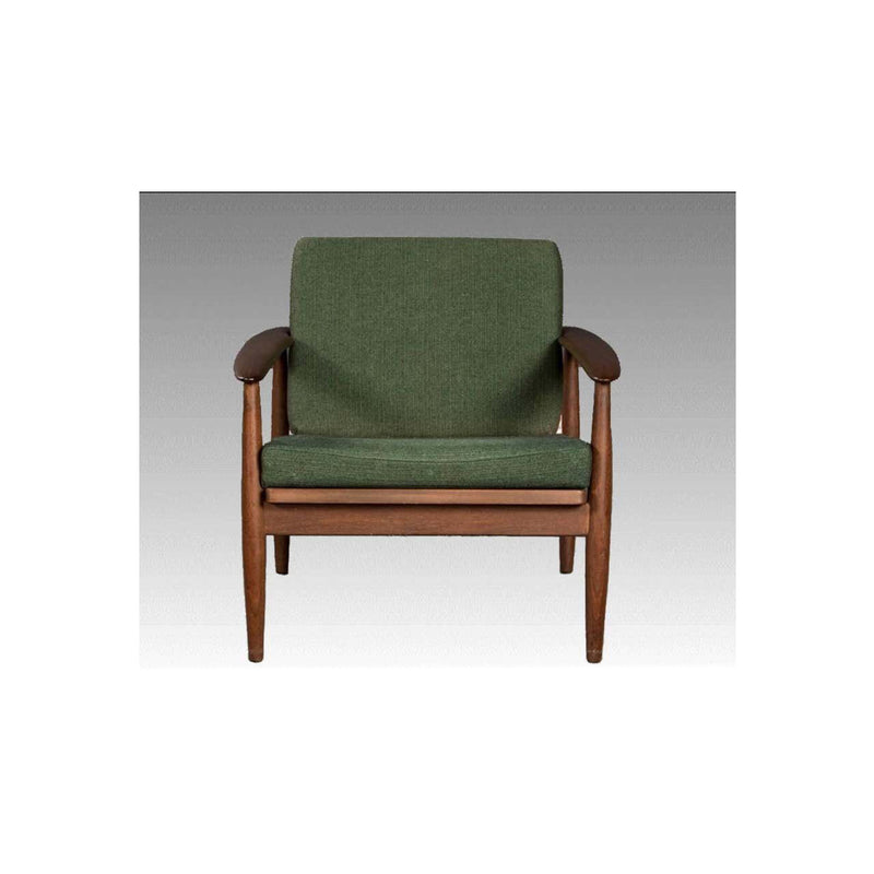 Vintage Sofabed and Armchair in Teak and Green Fabric 1960s