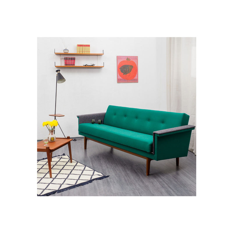 Vintage Sofa in Two Colours, Fold-out Guest Bed, Restored 1960