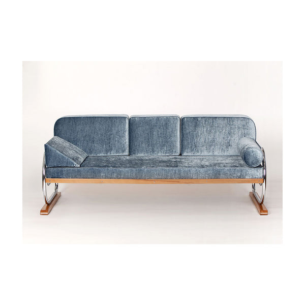 Vintage Sofa, Art Deco Tubular Steel Couch Daybed From H. Gottwald, 1930s