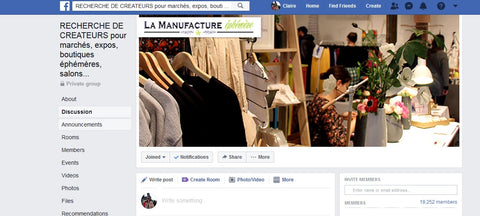 Facebook group for Artisans markets