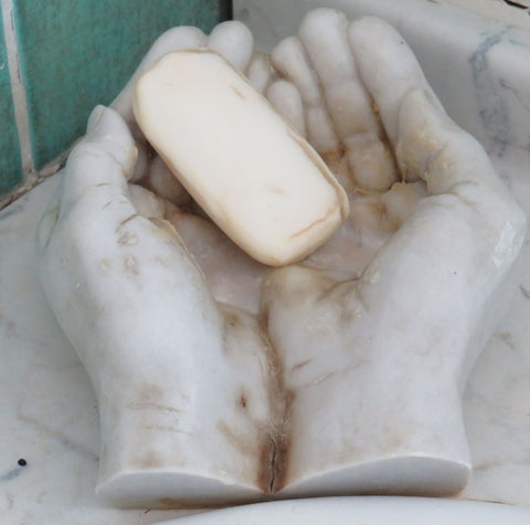 Cold cast marble soap dish before washing.