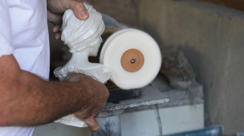 Polishing cold cast marble on a buffing wheel