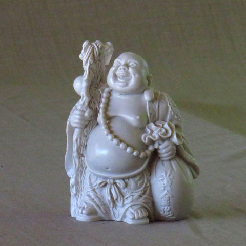 Chinese Style, Happy Travelling Buddha in White Powdered Marble