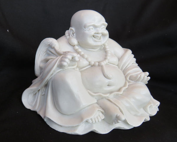 Seated Chinese Style, fat bellied Buddha in Reconstituted marble