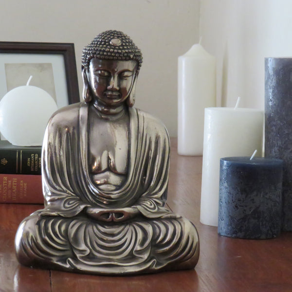 Classic Style Buddha in meditation pose - bronze coated reconstituted marble