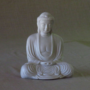 Classic Style Buddha in meditation pose - white or black reconstituted marble