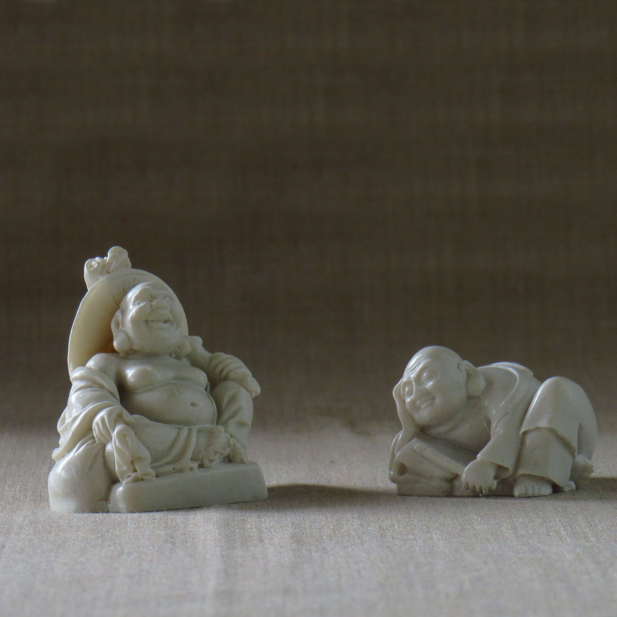 Duo of Fat Bellied Lucky Buddhas