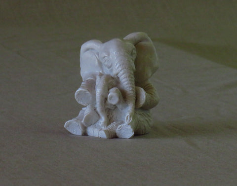 Mother & Baby Elephant in white marble